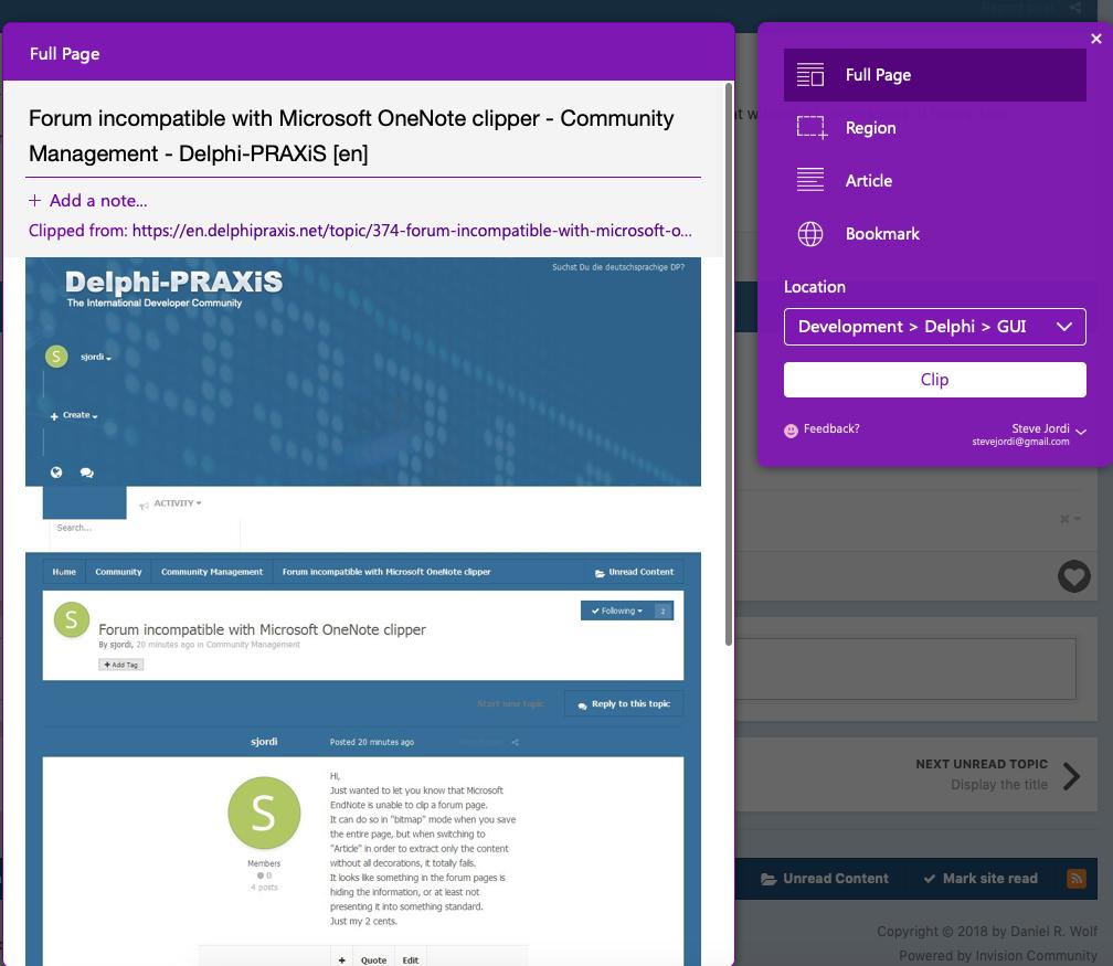 Forum incompatible with Microsoft OneNote clipper - Community