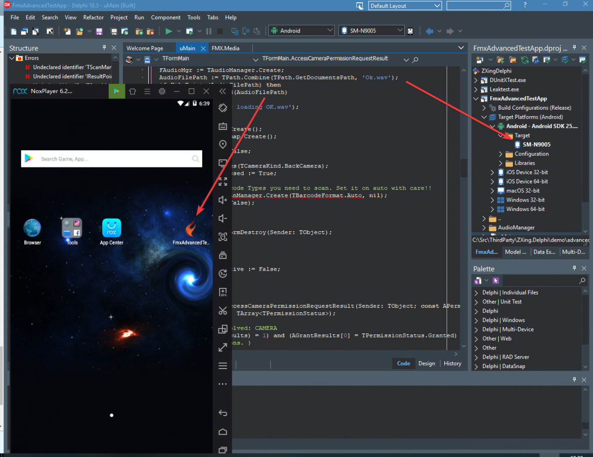 Delphi 10 3 and the NOX emulator running Android 7 - Cross